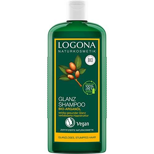 LOGONA Naturkosmetik Glanz Shampoo Bio-Arganöl, Mit natürlicher Glanz-Formel für gesundes Haar, Intesive Feuchtigkeit für trockenes, strapaziertes Haar, Mit Bio-Pflanzenextrakten, Vegan, 250ml