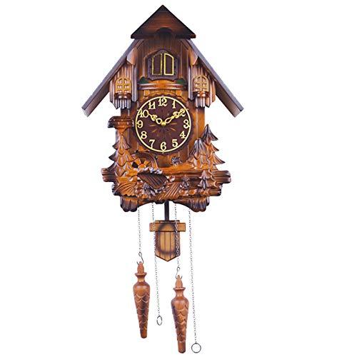 GAOJIN Reloj de Cuco, Hojas y Pino de Colgantes Antiguos Decorados - Sonido por Hora y Songbird Songbird - Fácil de Montar