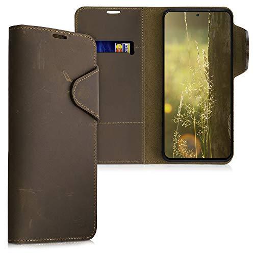 kalibri Hülle kompatibel mit Xiaomi Redmi Note 10 Pro - Leder Handyhülle Handy Hülle Cover - Schutzhülle in Braun