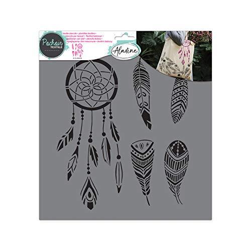 Aladine - Pochoir Textile Plume - Décoration sur Tissu - Pour Customiser Toiles, Tee-shirts, Tote Bags - Lavable - 28 x 28 cm - Grand Motif Plume et Attrape-Rêve