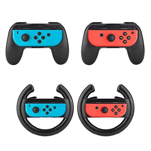 Game Console Stuurwiel + Game Handvat voor Nintendo Switch Joy-con, Met ergonomisch ontwerp, Met perfecte grip en comfort
