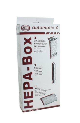 Sebo 5827ER HEPA Service Box für X Serie mit 8Ultra Staubsaugerbeutel, Abluftfilter und HEPA Mikrofilter