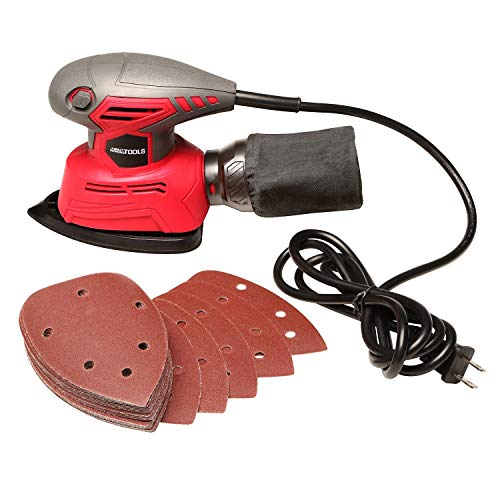 Great Working Tools Mouse Sander, Detail Orbital Palm Sander with Dust Collection Bag & 27 pcs Sandpaper, 1.1 Amp 14,000 OPM