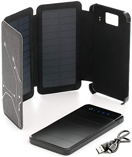 Foxelli Solar Power Bank – 10000mAh Battery, Lightweight, Water Resistant, Portable Solar Charger for Cell Phones & Tablets with Dual USB Output & LED Flashlight