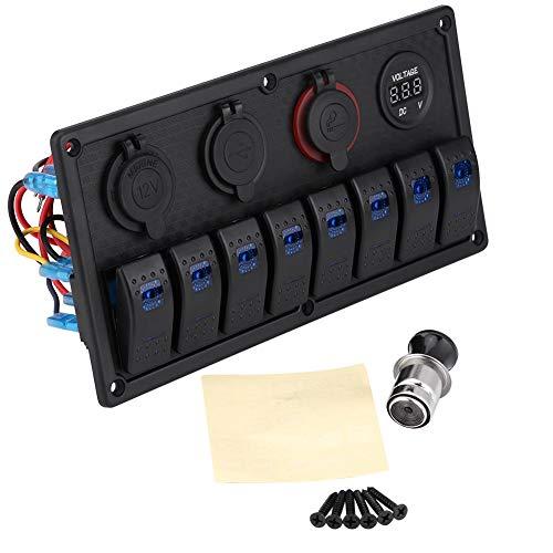 12V/24V Schalter Panel Wasserdichte 8 Gang Schalter Panel Rocker Schalttafel Dual USB Ladegerät für Auto Marine Boot Wohnmobil Fahrzeuge LKW