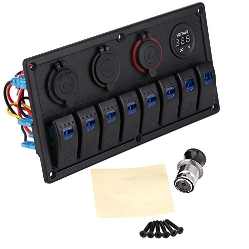 12V 24V 8 Gang Coche Barco LED Interruptor basculante Panel de control Voltímetro USB dual Encendedor de cigarrillos