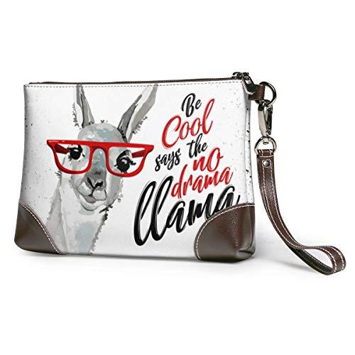 GLGFashion Sac à main en cuir pour femme Be Cool Says The No Drama Lama Cute Cartoon Alpaca Cosmetic Bag for Women Adorable Roomy Makeup Bags Travel Toiletry Bag Accessories Organizer
