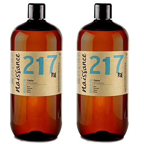 Naissance kaltgepresstes Rizinusöl (Nr. 217) 2 Liter (2 x 1000ml) - reines, natürliches, veganes, hexanfreies, gentechnikfreies Öl - pflegt und spendet Feuchtigkeit für Haare, Wimpern und Augenbrauen