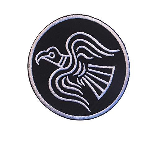 Ohrong Parche táctico de pájaro nórdico Viking Morale bordado, diseño de runas de cuervo, Odin Dios de la guerra, emblema con gancho y bucle (blanco)