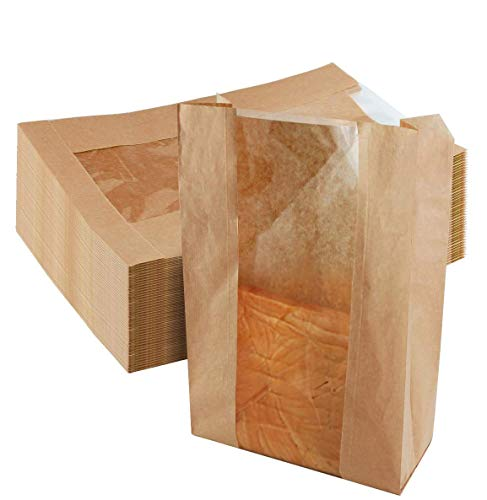Newbested 30 Pack Kraft Paper Bread Loaf Bag with Clear Front Window,Brown Bakery Cookie Food Coffee Storage Packaging Treat Bag (14' x 8.3' x 3.5')
