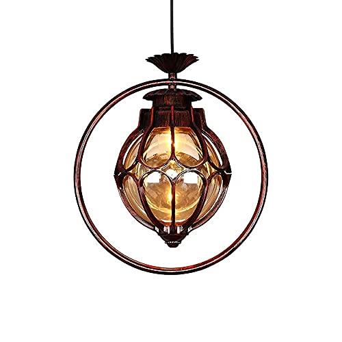 Aplique de pared, círculo de metal de bronce rojo Luces colgantes para pasillo Creativo Mediterráneo Guardarropa Pasillo Lámpara colgante de techo Vintage Industrial Club Balcón Accesorio de ilumina