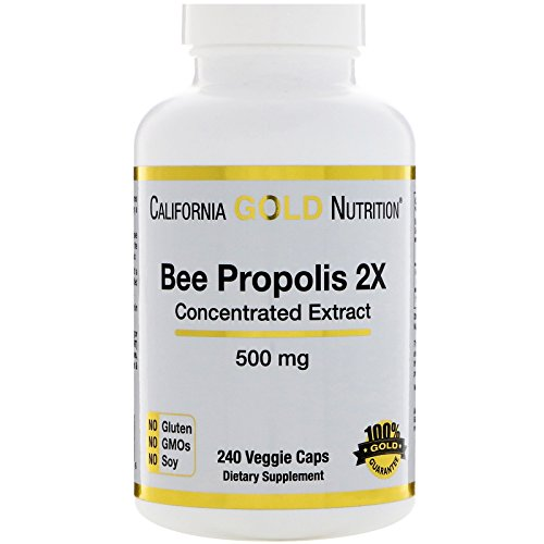 California Gold Nutrition Bee Propolis 2X Concentrated Extract 500 mg 240 Veggie Caps, Milk-Free, Fish Free, Gluten-Free, Peanut Free, Salt-Free, Soy-Free, Sugar-Free, Wheat-Free, Yeast-Free, CGN