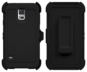 Galaxy S5 Case ToughBox [Armor Series] [Shock Proof] [Black] for Samsung Galaxy S5 Case [Built in Screen Protector] [With Holster & Belt Clip] [Fits OtterBox Defender Series Belt Clip]