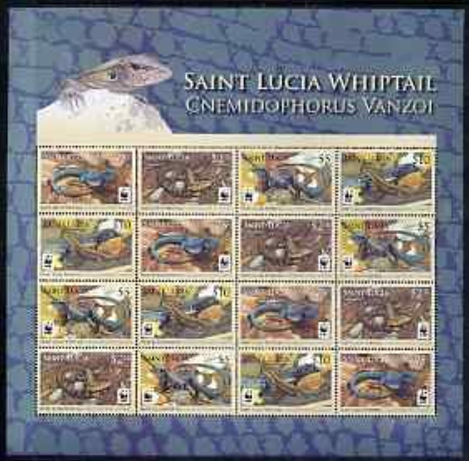 St Lucia 2008 WWF  Whiptail Lizard perf sheetlet 16 Values (4 seTenant Strips of 4) u m Animals Reptiles Lizards JandRStamps