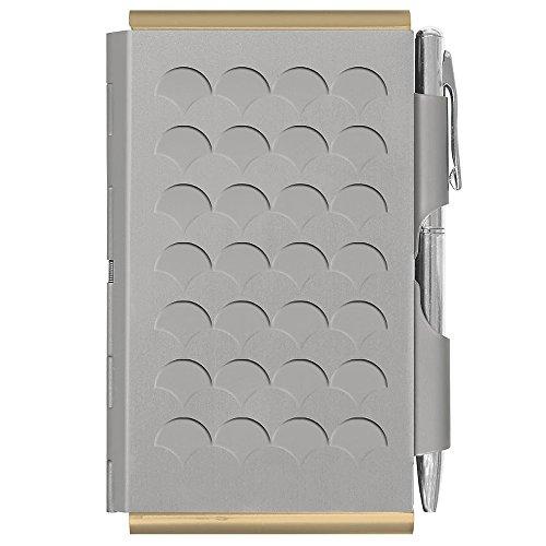TROIKA SILVER SCALE – FC2388 – Astuccio di metallo Flip Notes© incl. blocco per appunti senza righe – chiusura: penna a sfera color argento (mina nera) – meccanismo di apertura – TROIKA-originale