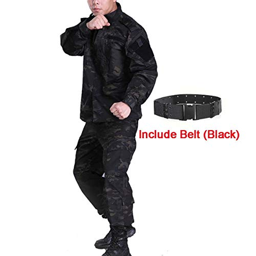 H World Shopping Men Tactical BDU Combat Uniform Jacket Shirt & Pants Suit for Army Military Airsoft Paintball Hunting Shooting War Game Multicam Black MCBK (M)