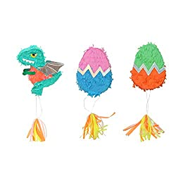 4. WallyE Mini Dinosaur Pinatas (3 Pack)