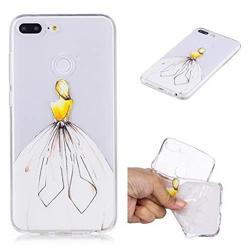 Qiaogle Teléfono Caso para Xiaomi Redmi 6A - Funda de TPU Silicona Carcasa Case Cover - HX18 / Blanco Chica Vestida