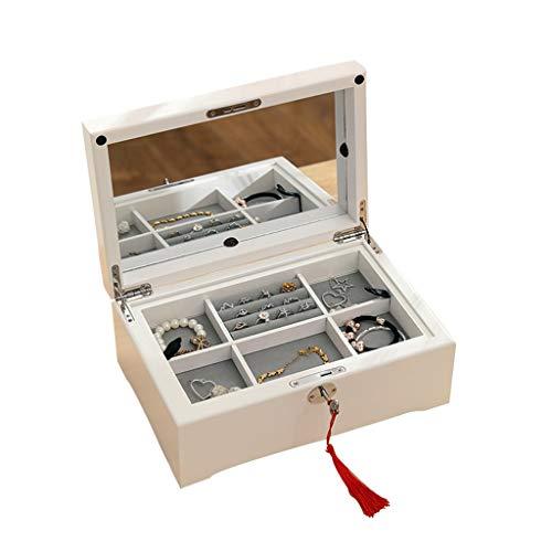 Jewelry Box Joyero Organizador De Almacenamiento De Joyas De Una Capa con Cerradura Caja De Joyería De Lujo Simple con Espejo Regalo De Cumpleaños para Damas (Color : Blanco, Size : 30×21×6cm)