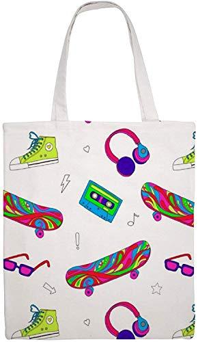MODORSAN Skateboard Sneakers Trend (2) Umhängetasche aus Segeltuch, wiederverwendbare Einkaufstaschen für Lebensmittel, doppelseitige Drucktaschenhandtaschen