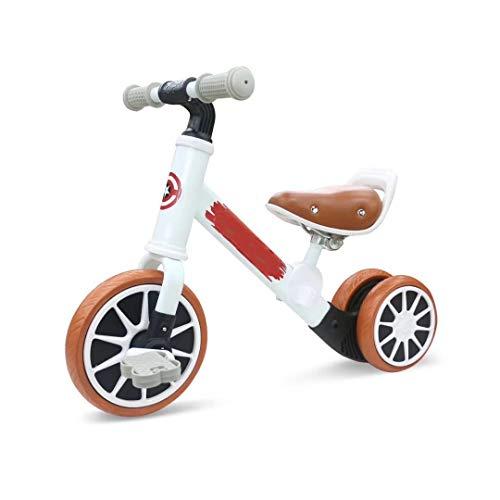 QHY Mini Bicicleta De Equilibrio para Niños Triciclo Multifuncional Bicicleta 2-5 Años Viejo Bebé Ejercicio Equitación Doble Objetivo Carro (Color : White)
