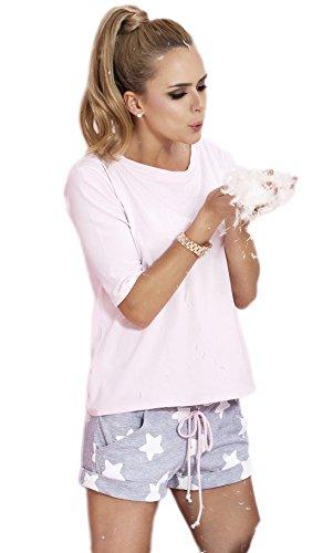 PIGEON Lingerie charmantes Shorty-Set aus niedlichem Shirt und zarten Shorts, rosa, Gr. XL