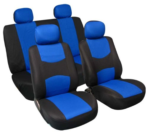 FH Group - FB050BLUE114 Universal Fit Full Set Flat Cloth Fabric Car Seat Cover, (Blue/Black) (FH-FB050114, Fit Most Car, Truck, Suv, or Van)