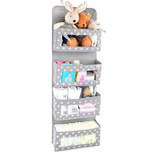 Vesta Baby Over the Door Hanging Organizer with Hooks - Unisex Space Saving 4 Pocket Storage Solution for Bathroom, Childrens Room, Nursery - Clear Window Caddy Hanger - 2 Small Items Utility Pockets