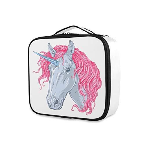 Mignon Licorne Rose Cheveux Voyage Maquillage Sac Bourse Trousse De Toilette Portable Outils De Rangement Cosmétique Train Case