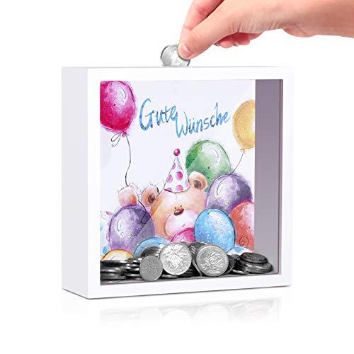 LISOPO Bilderrahmen Spardose Kleine Bär 3D Bilderrahmen befüllen für Kinder Bilderrahmen Deko als Geldgeschenk & Deko zum Aufhängen - Hinstellen 16,5x16,5x5cm…