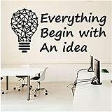Oficina Cita Creativa Calcomanía De Pared Inspiración Oficina Decoración De Negocios Bombilla De Luz Geométrica Motivación Pegatina De Vinilo Mural 45 * 20 Cm