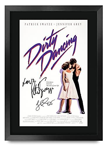 HWC Trading Dirty Dancing A3 Enmarcado Regalo De Visualización De Fotos De Impresión De Imagen Impresa Autógrafo Firmado por Patrick Swayze Jennifer Grey Los Aficionados Al Cine