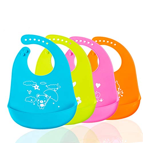 LABOTA 4PCS Babero de alimentación de silicona para bebés - Impermeable Broches ajustables Baberos De Bebé Para bebés, bebés y niños pequeños con bolsillo colector de comida (4 colores)