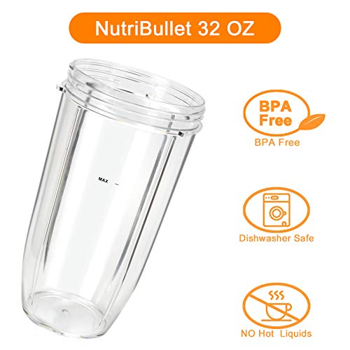 Fetechmate 32oz Blender Cups Replacement Blender Cups Compatible with NutriBullet 600w and 900w Blender 2 Pack