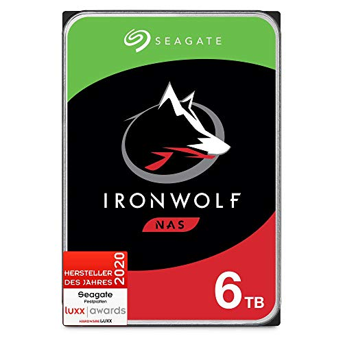 Seagate IronWolf NAS, interne Festplatte 6 TB HDD, 3.5 Zoll, 7200 U/Min, 256 MB Cache, SATA 6 Gb/s, silber, inkl. 3 Jahre Rescue Service, Modellnr.: ST6000VNZ01