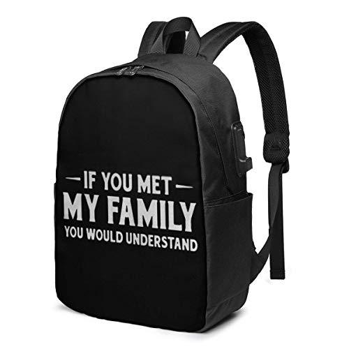 Lawenp Si conocieras a mi Familia, entenderías la Moda Mochila USB Impresa Bolso de Hombro de 17 Pulgadas Bolso para computadora portátil Mochila de Moda Negro