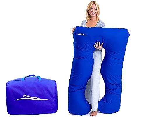 KomfortKissen ORIGINAL - Premium Orthopädisches Kuschelkissen | Körperkissen | Seitenschläferkissen - Für besseren Schlaf und gegen Rückbeschwerden, 100 x 150 cm (Baumwolle - Blau)