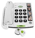 Doro Secure 347 Schnurgeb&enes Großtastentelefon mit 4 Direktwahl-Fototasten inkl. 2 mobilen Notrufalarmgebern, weiß