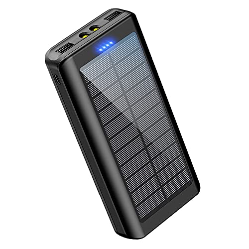 Portable Charger Power Bank 30000mAh - HONEONE Solar Charger Power Bank with LED Flashlight Dual 5V/2.1A Outputs for Outdoor Activities Compatible for Cell Phones etc