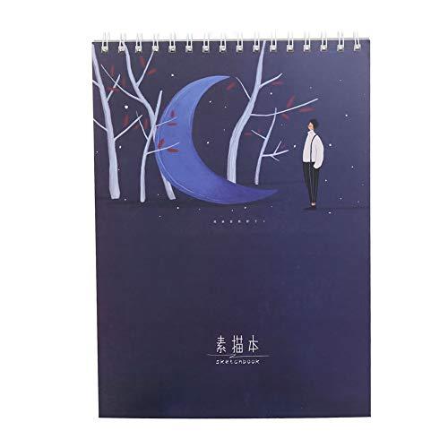 LAAT 1PCS Libro de bocetos para Tus Bocetos De Arte Bloc de Notas de Small Cute Planning Notebook Cuaderno para Hombre Mujer Niños con Página en Blanco Regalo Original San Valentín Navidad (Azul)