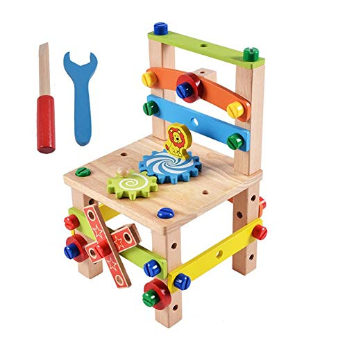 3D puzzle Puzzle model ship Model building kit DIY Wooden Disassembly Chair Tool Assembly Of Nuts Chair Children's Puzzle Toys Wooden Block Toys Gift for Children 2 Models (Color : B raw wood color)