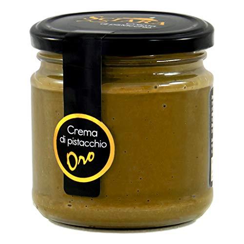 SCIARA - Crema di Pistacchio 'ORO' Vegan. Solo Pistacchio (50%), Olio Evo e Zucchero. Ideale da Spalmare e per Farcire Torte e Dolci. Sana, Senza Latte, Senza Glutine e Senza Uova.