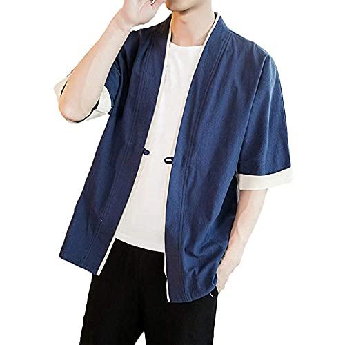 Herren Leinen Japan Kimono Haori Jacke Minimalismus Übergangsjacke Freizeithemd Cardigan Jacke 3/4 Ärmel Kimono Strickjacke Männer Japanische Traditionelle Japanische Kleidung Einfarbig EIN Knopf