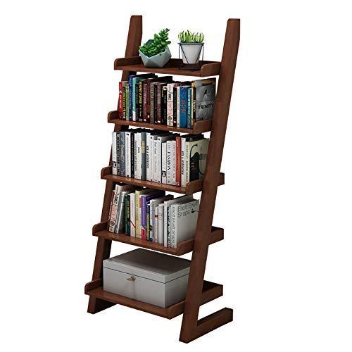LILICEN Librería de Madera Multifuncional Almacenamiento Pantalla 5-Tier Frame Ladder Bookshelf (Color: Marrón, Tamaño: 140x60.5x39.5cm)