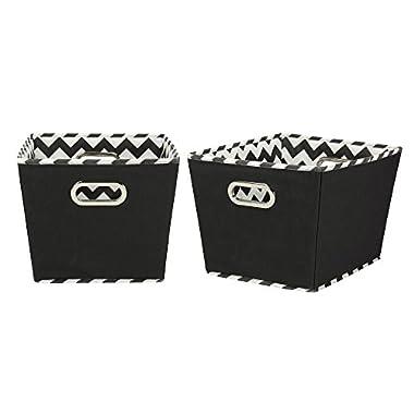 Household Essentials 91-1 Medium Tapered Decorative Storage Bins | 2 Pack Set Cubby Baskets | Black Chevron