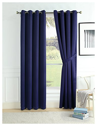 Home Queen True 100% Blackout Window Curtains Panels for Living Room Full Light Blocking Grommet Drapes with Match Curtain TiebacksThermal Insulated and Draperies 52 W X 84 L Set of 2 Navy Blue