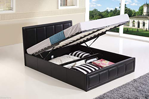Lune Beds 4FT6 Double Size Modern Hiley Ottoman Gas Lift Storage Faux Leather Bed - Black