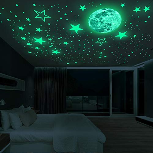 20cm Moon 435pcs Stars Dots 3D Luminous Wall Sticker Room Ceiling Stairs Decoration Fluorescent Mural Art