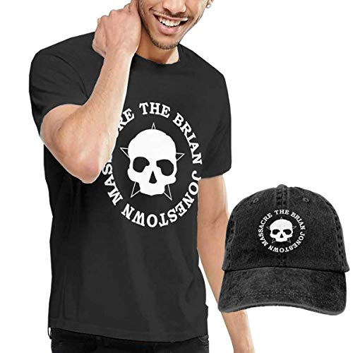 SOTTK Herren Kurzarmshirt Mens Fashion The Brian Jonestown Massacre Logo Tee and Washed Denim Hat Casquette Black ComfortSoft Cotton T-Shirt