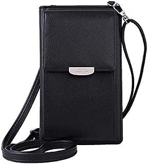 Fashion Single-Shoulder Bags Summer Women Phone Shoulder Bag PU Leather Money Wallet Mini Chain Mobile Crossbody Bag(Black) (Color : Black)